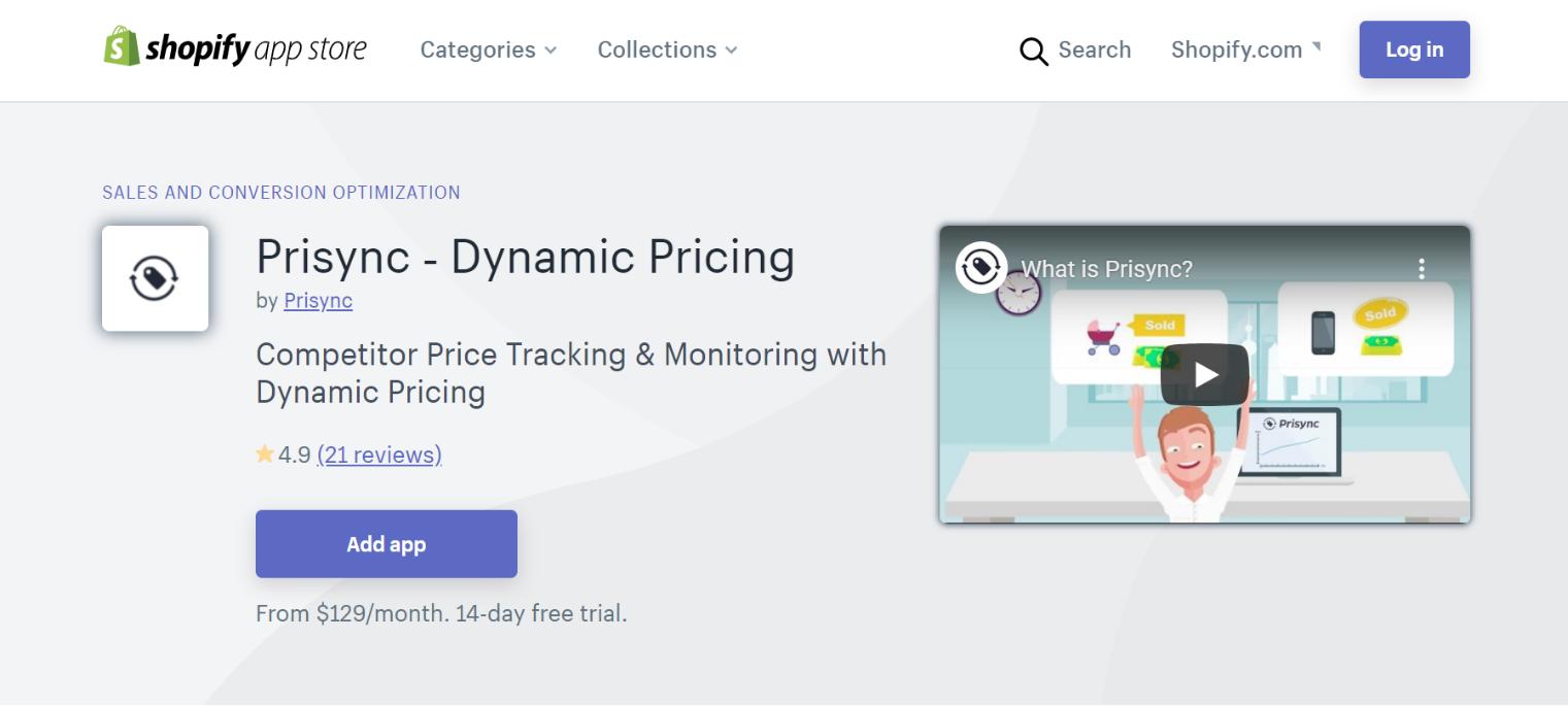 Prisync Dynamic Price App