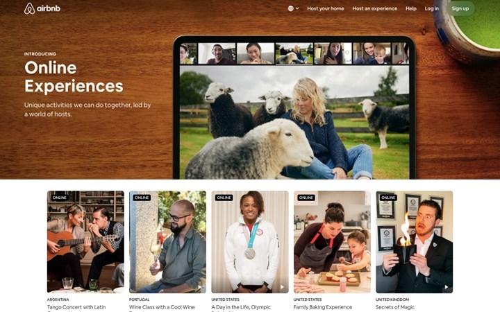 a screenshot of homepage Airbnb website