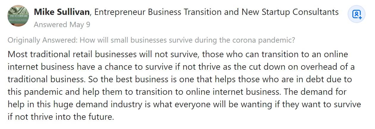 Mike Sullivan on Quora commenter