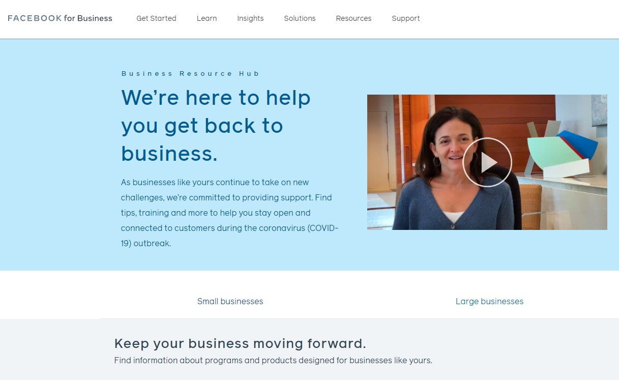 Facebook for business homepage
