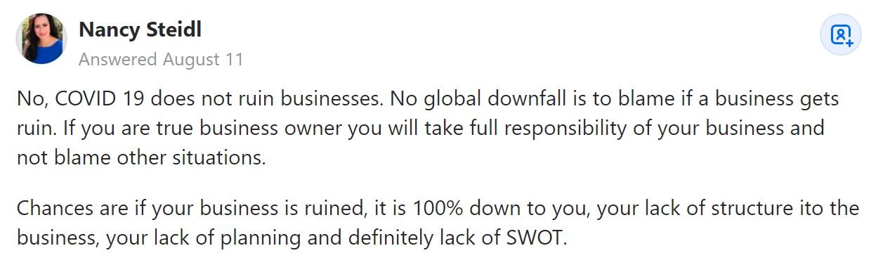 Nancy Steidl on Quora commenter