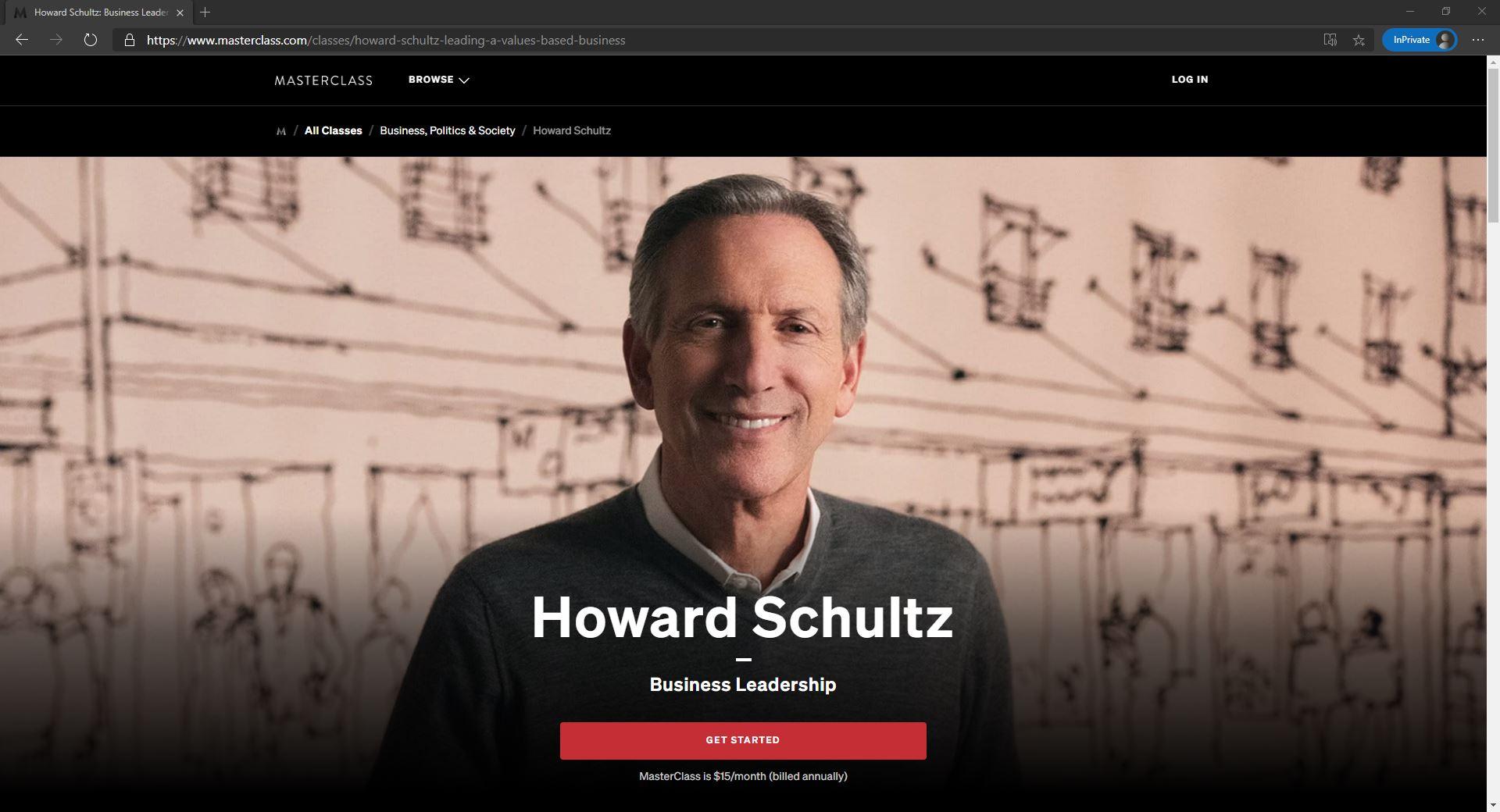 Howard Schultz on Masterclass