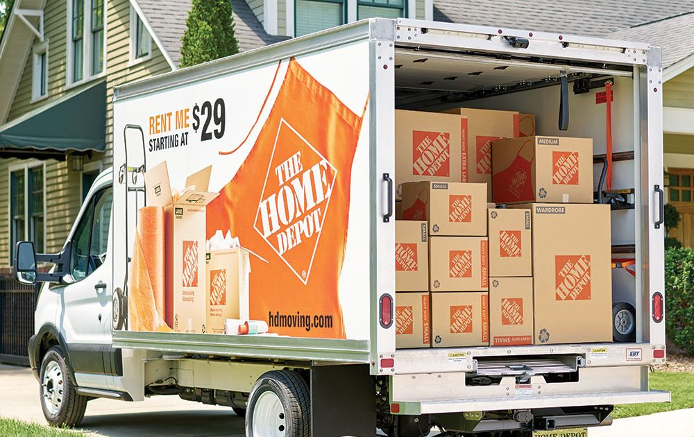 A Home Depot truck with load of boxes