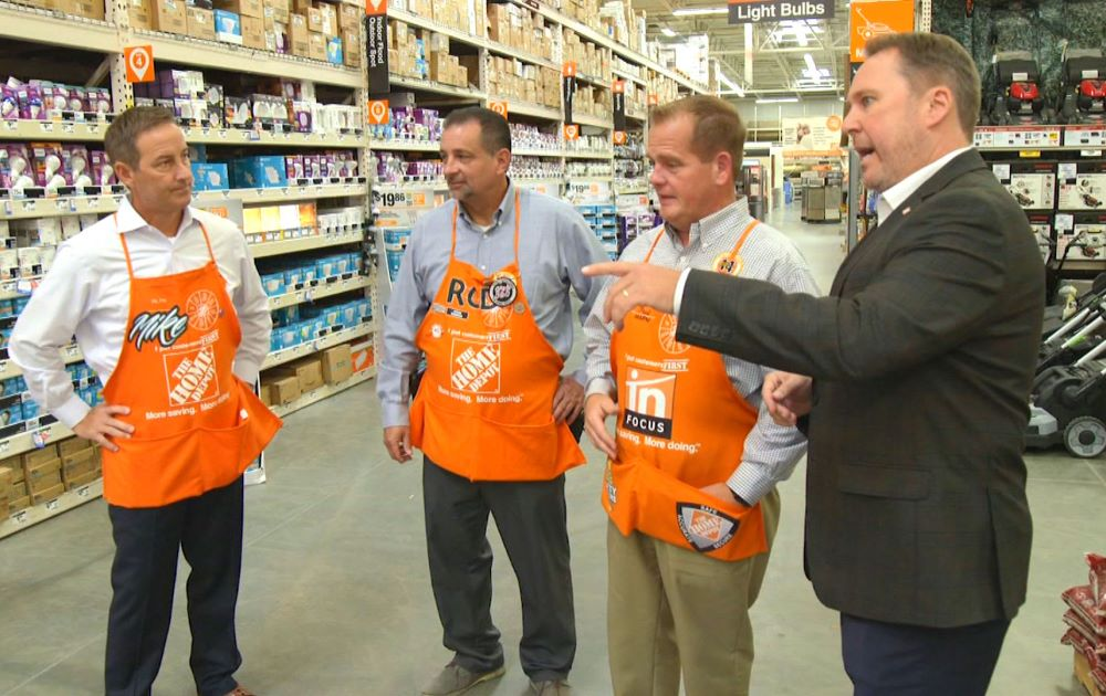 Home Depot staff talk to each other