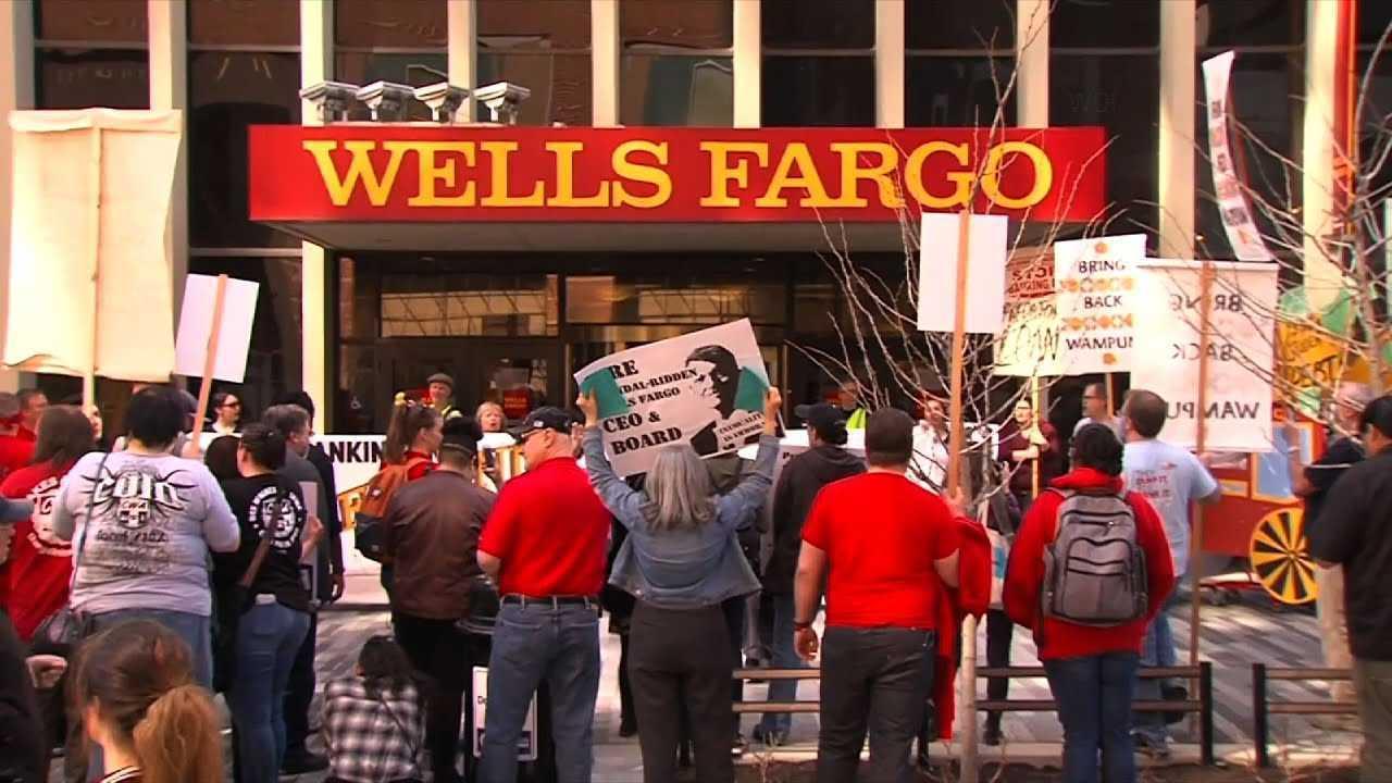 Protestors in front of Wells Fargo