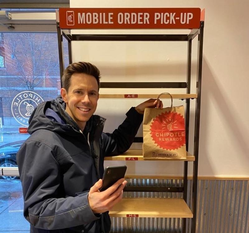Customer pick up Chipotle order