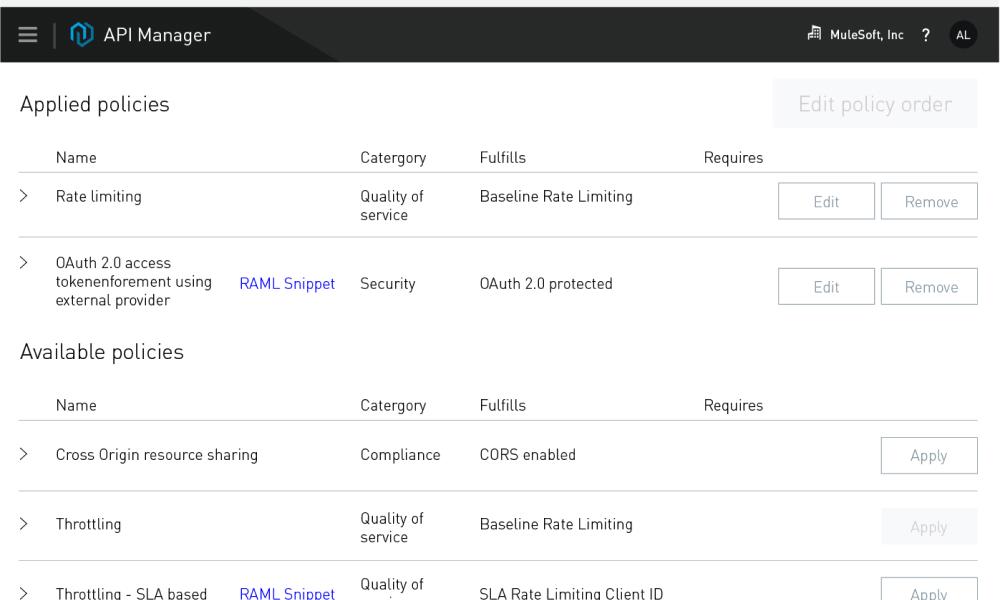 API manager interface