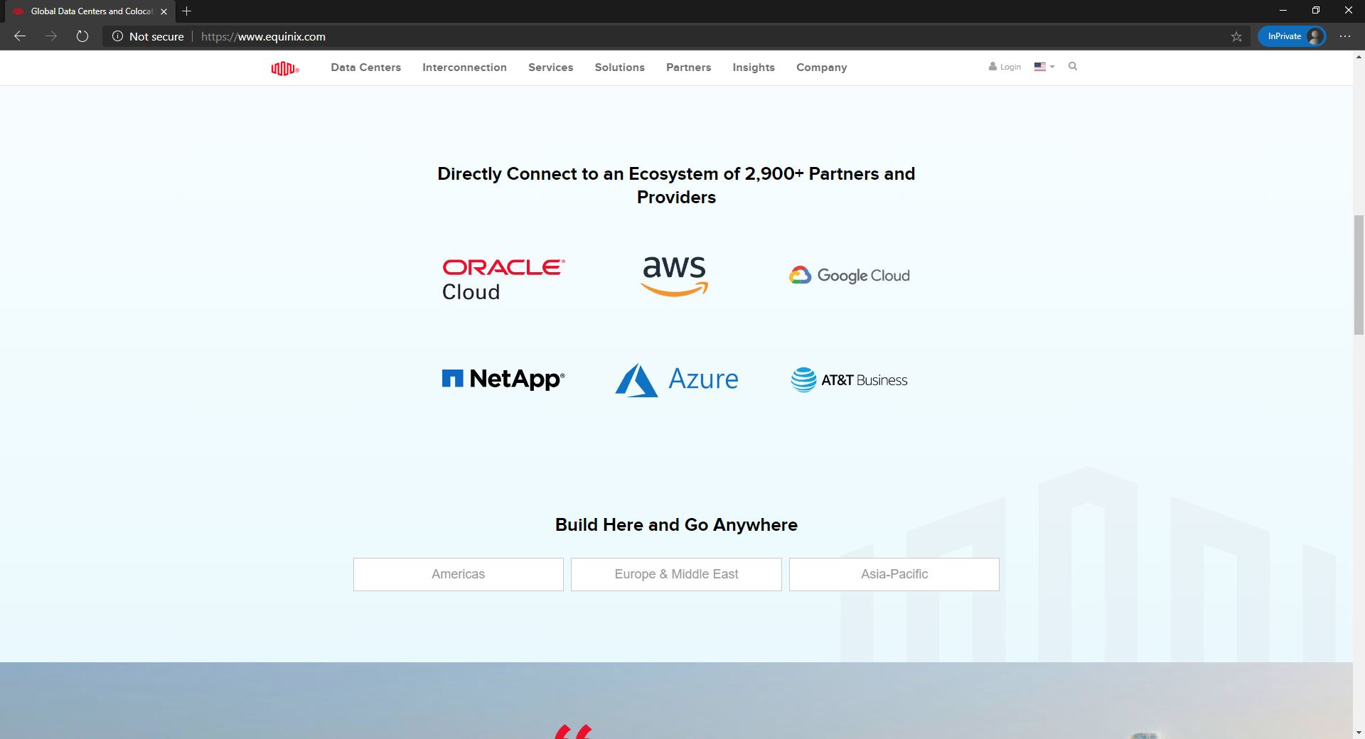 Equinix clients on the website