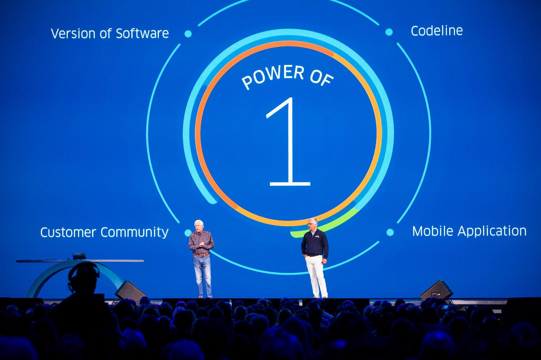 Workday technology team speak on stage about the product