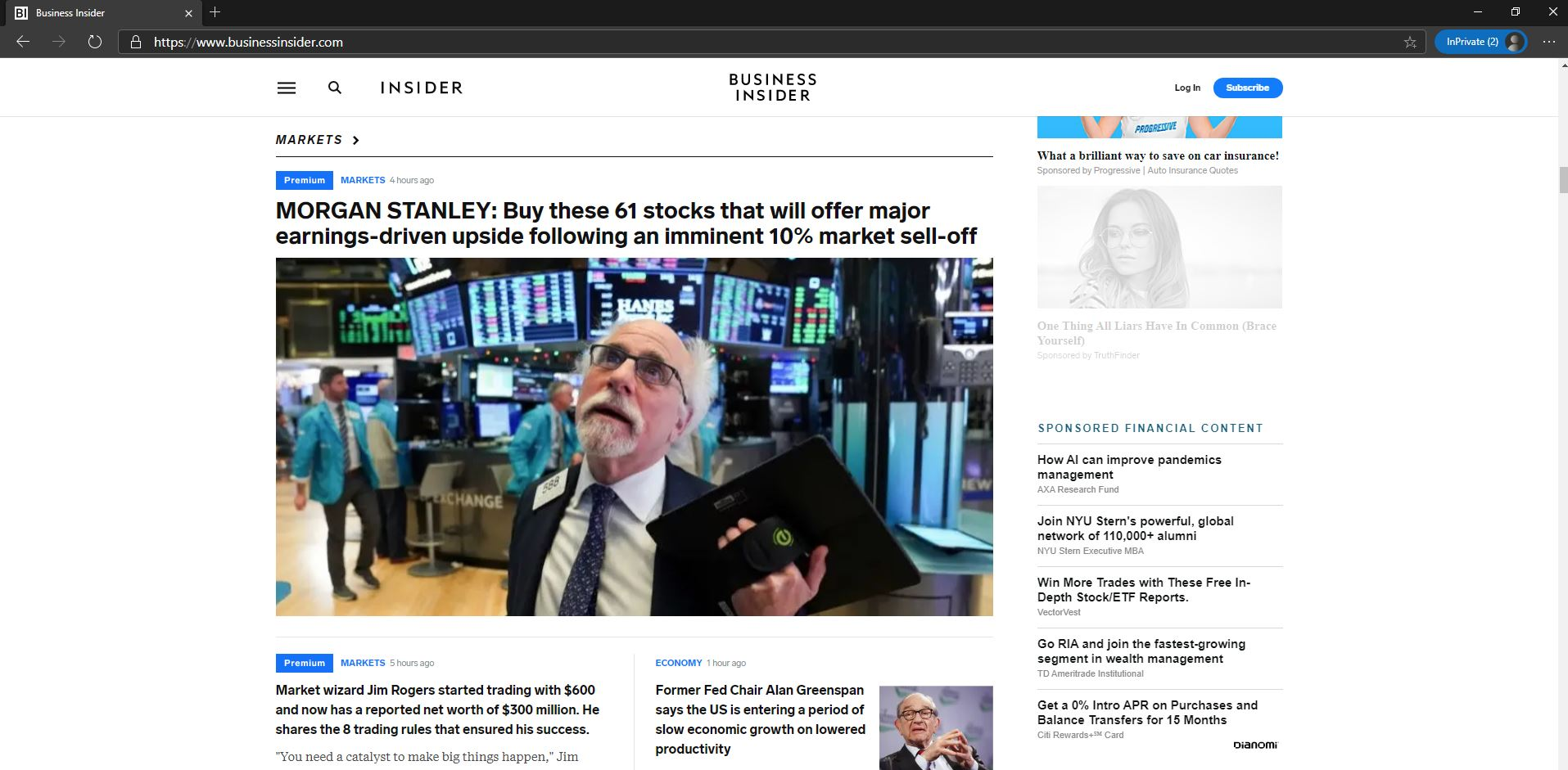 Business Insider homepage