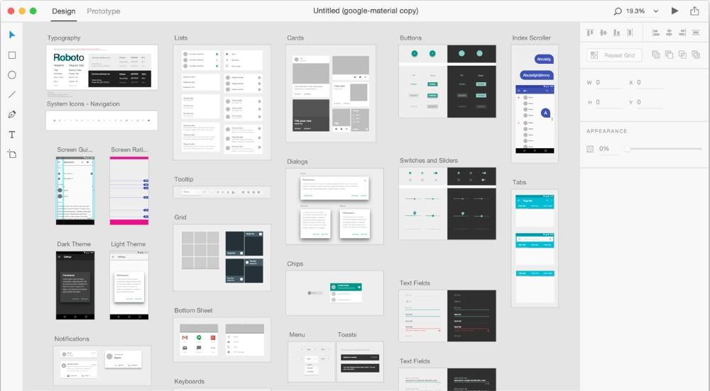 UI design in Adobe XD