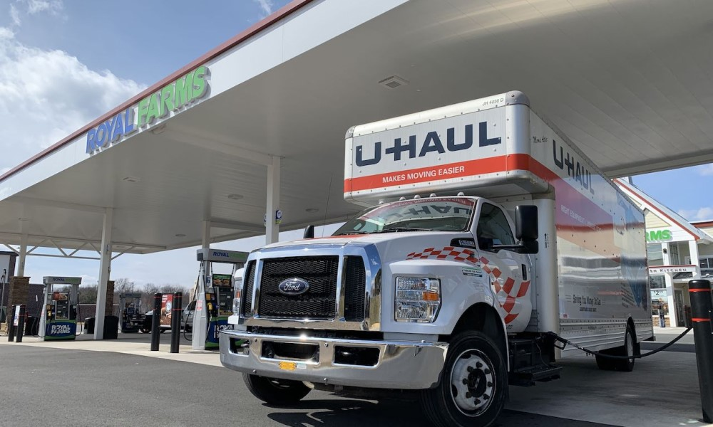 U-Haul truck is filling fuel at gas station