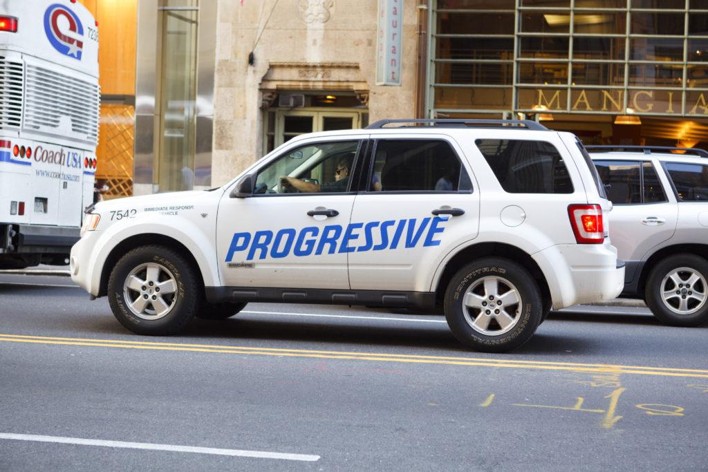 Progressive vehicle on the road