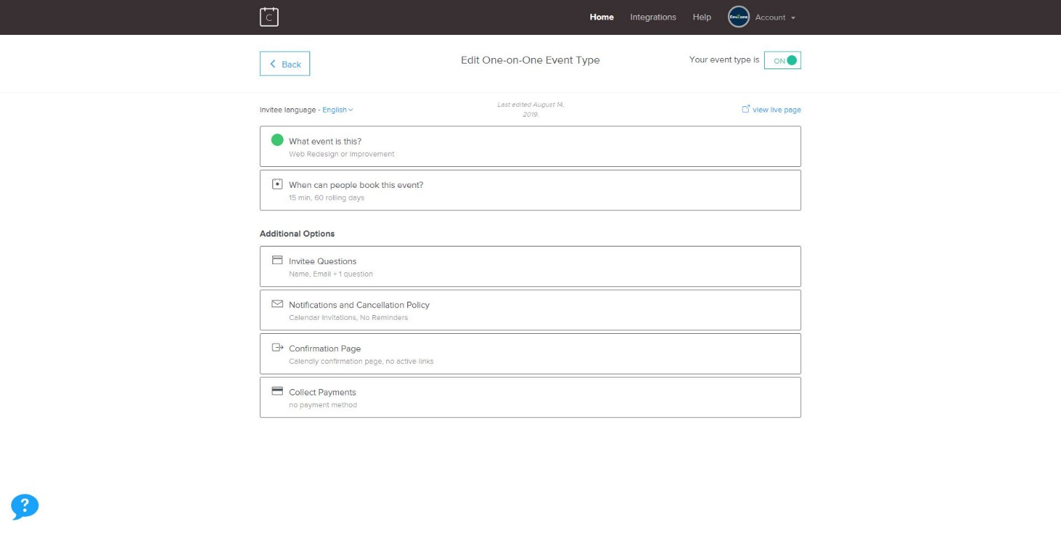 Calendly user interface