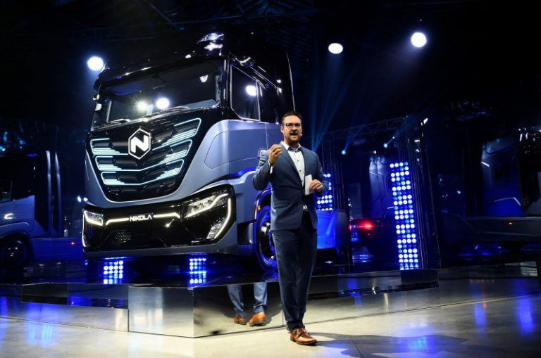 Nikola CEO on stage pitch the technology of electric trucks