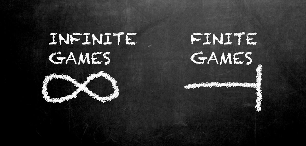 Infinite game vs finite game illustration