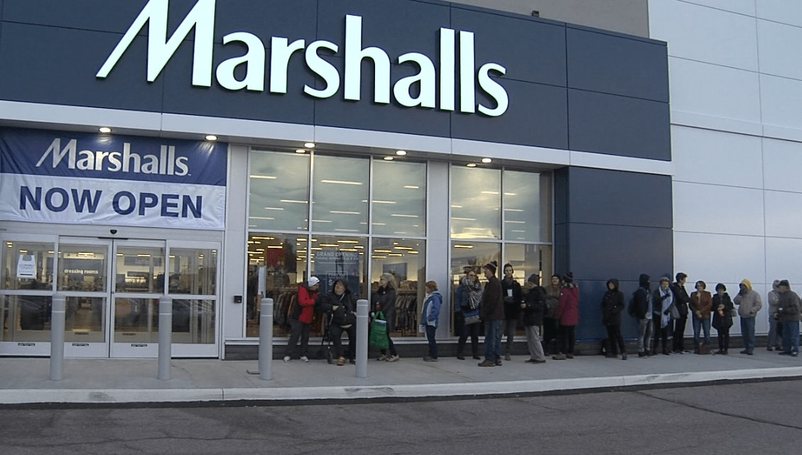 People is lining up in front of Marshalls store