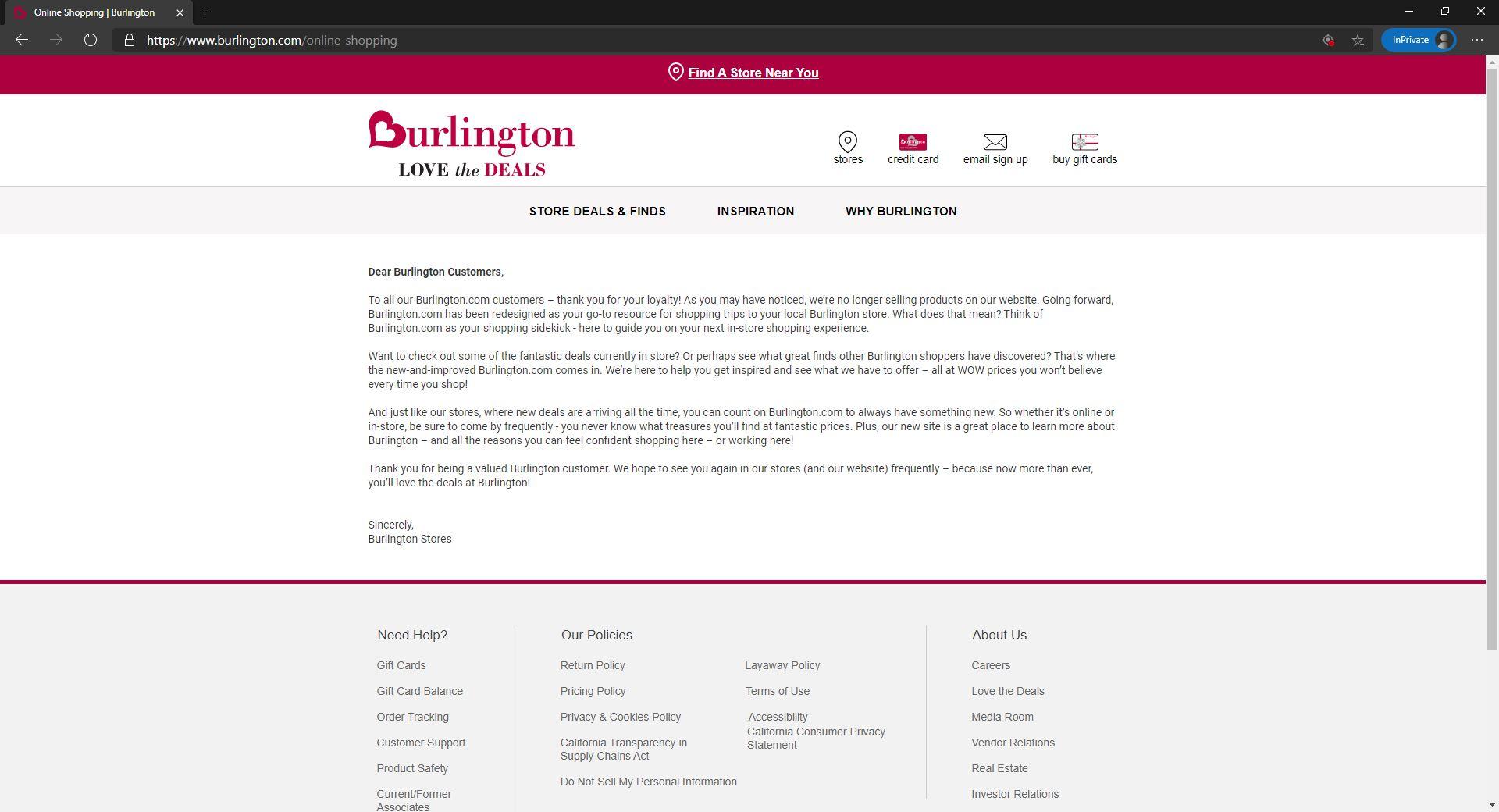 Burlington announcement of no ecommerce site