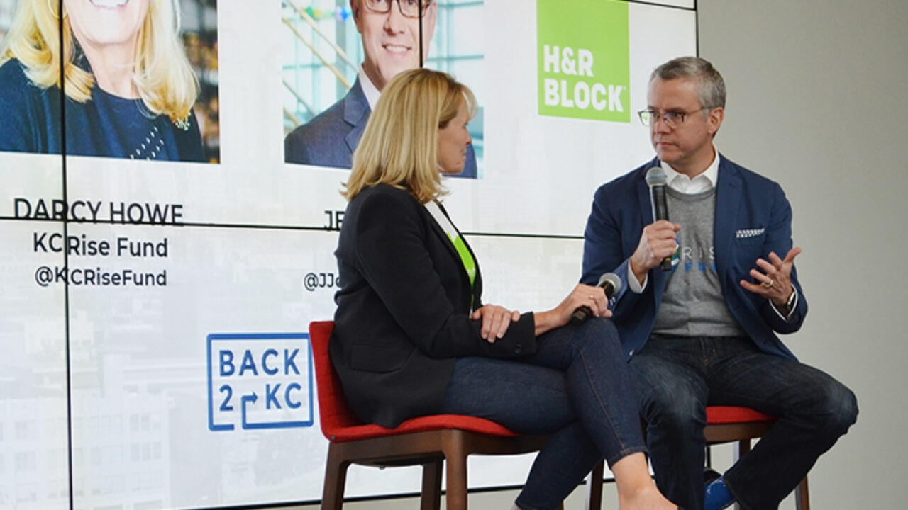 HR Block leadership team in an interview on stage