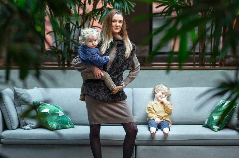 Allison Robinson with her two kids at the office