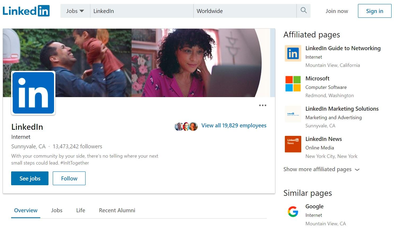 Linkedin page on Linkedin platform