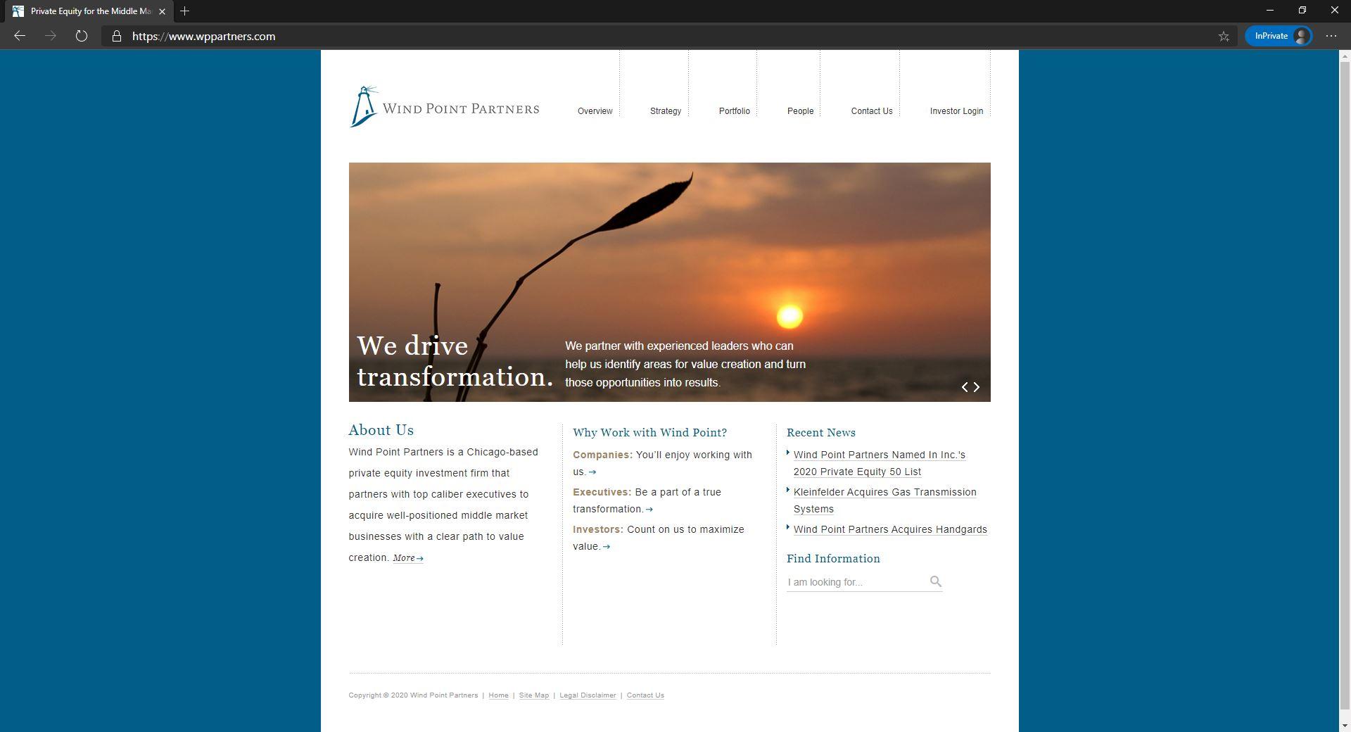 Wind Point Partners website