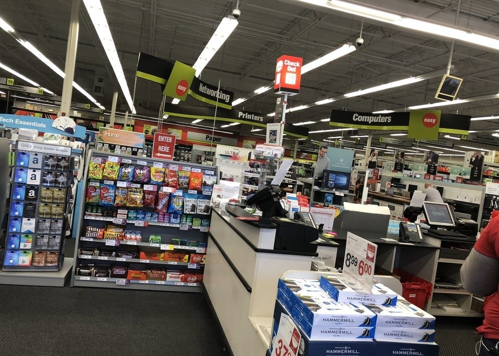 A printing center at the Staples store in Northern California