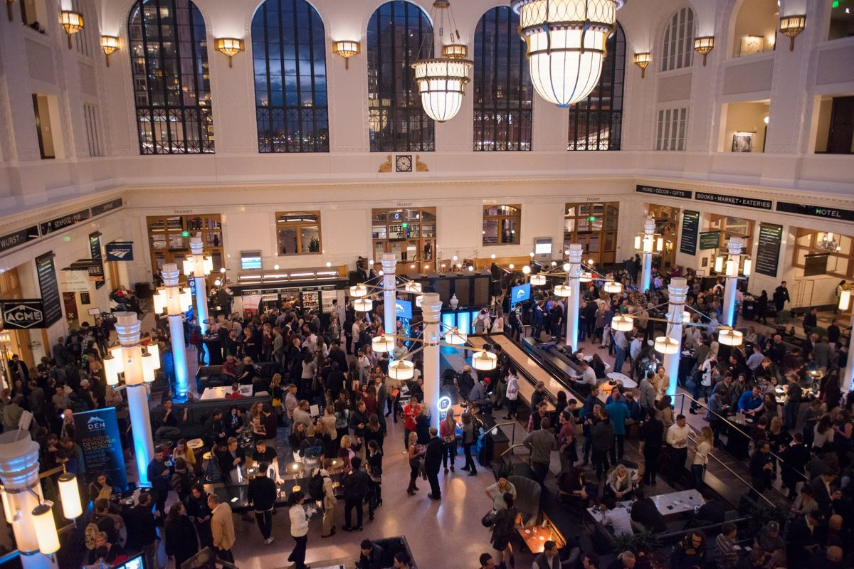 young professionals in a networking event at Union Station Denver