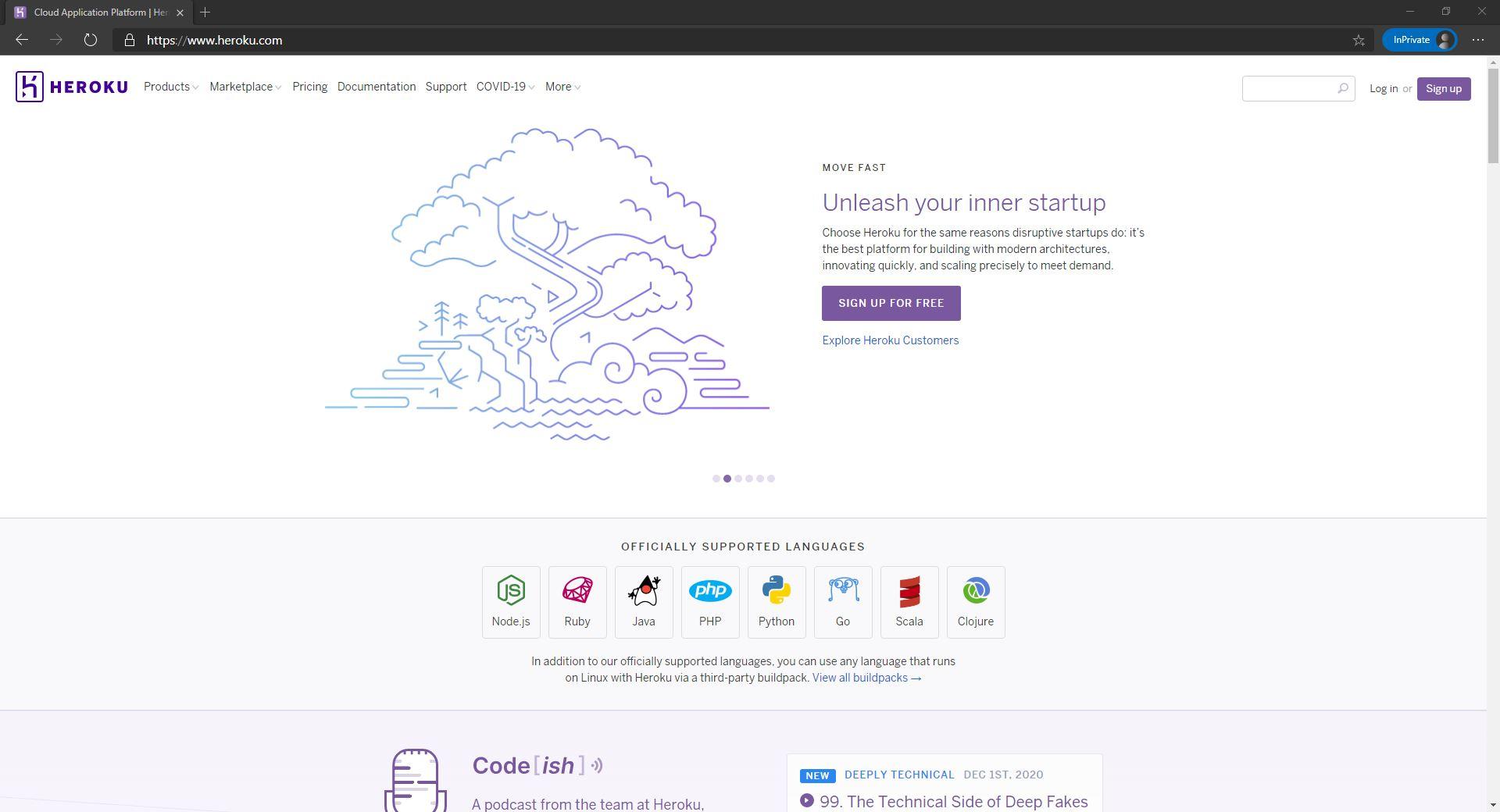 Heroku homepage website