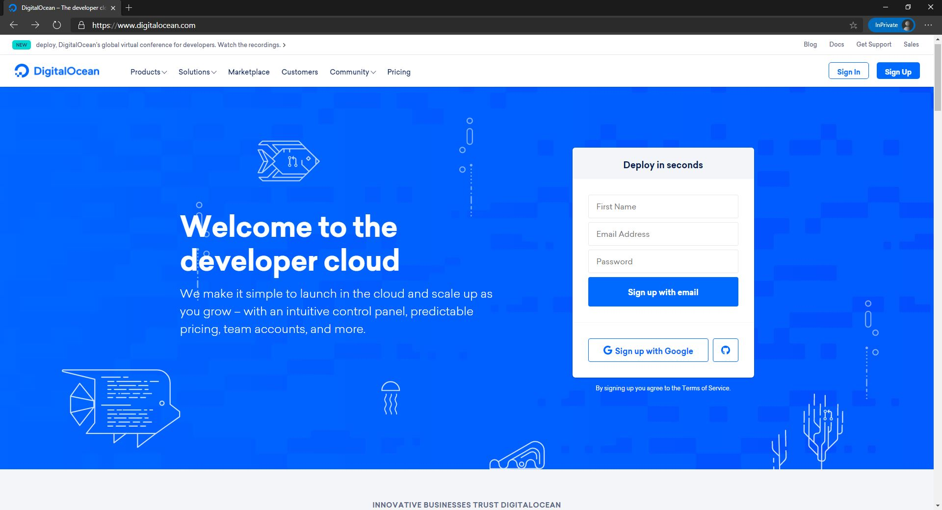 DigitalOcean homepage website