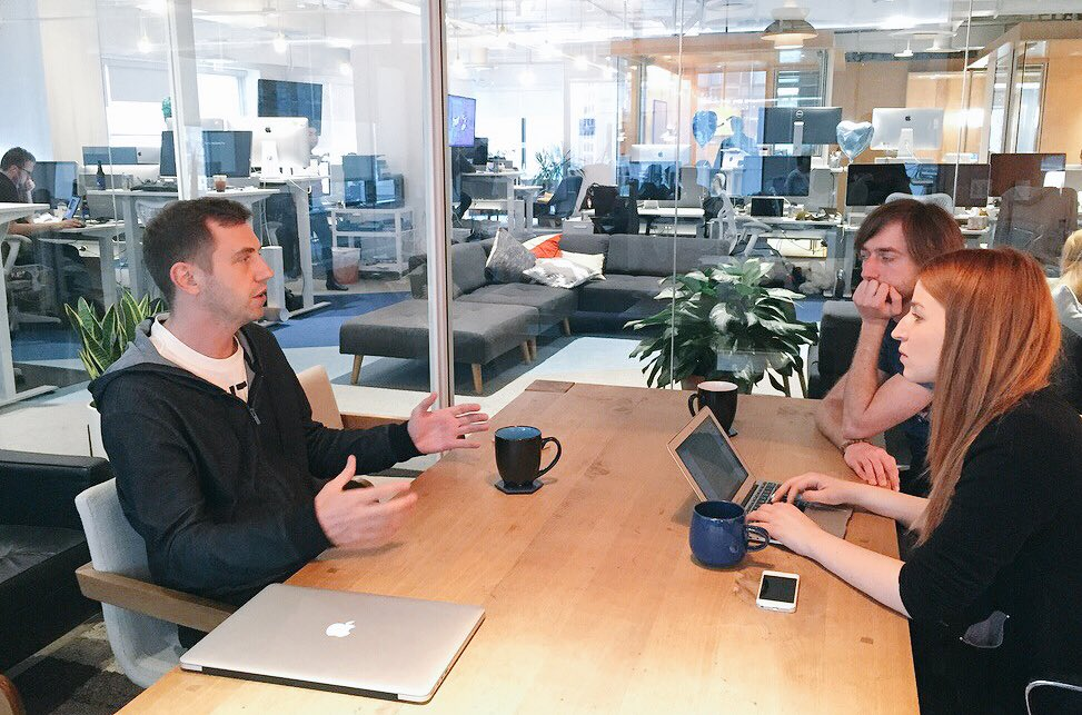 Digital Ocean founder collaborate with staff about strategy