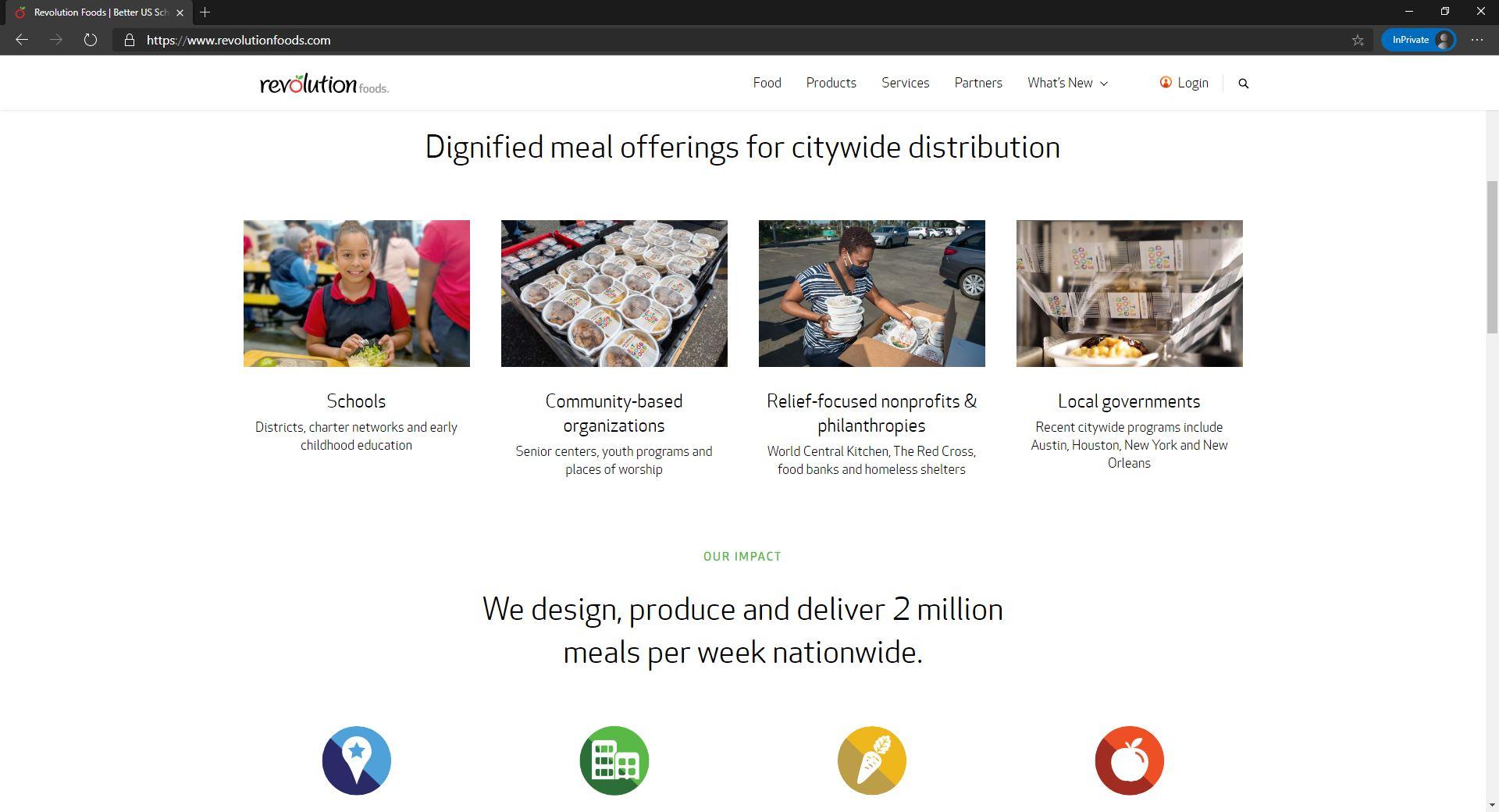 Revolution food website homepage