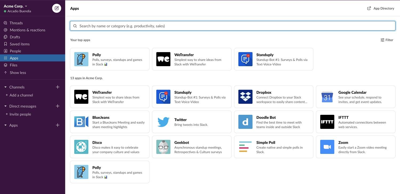 Slack dashboard and user interface