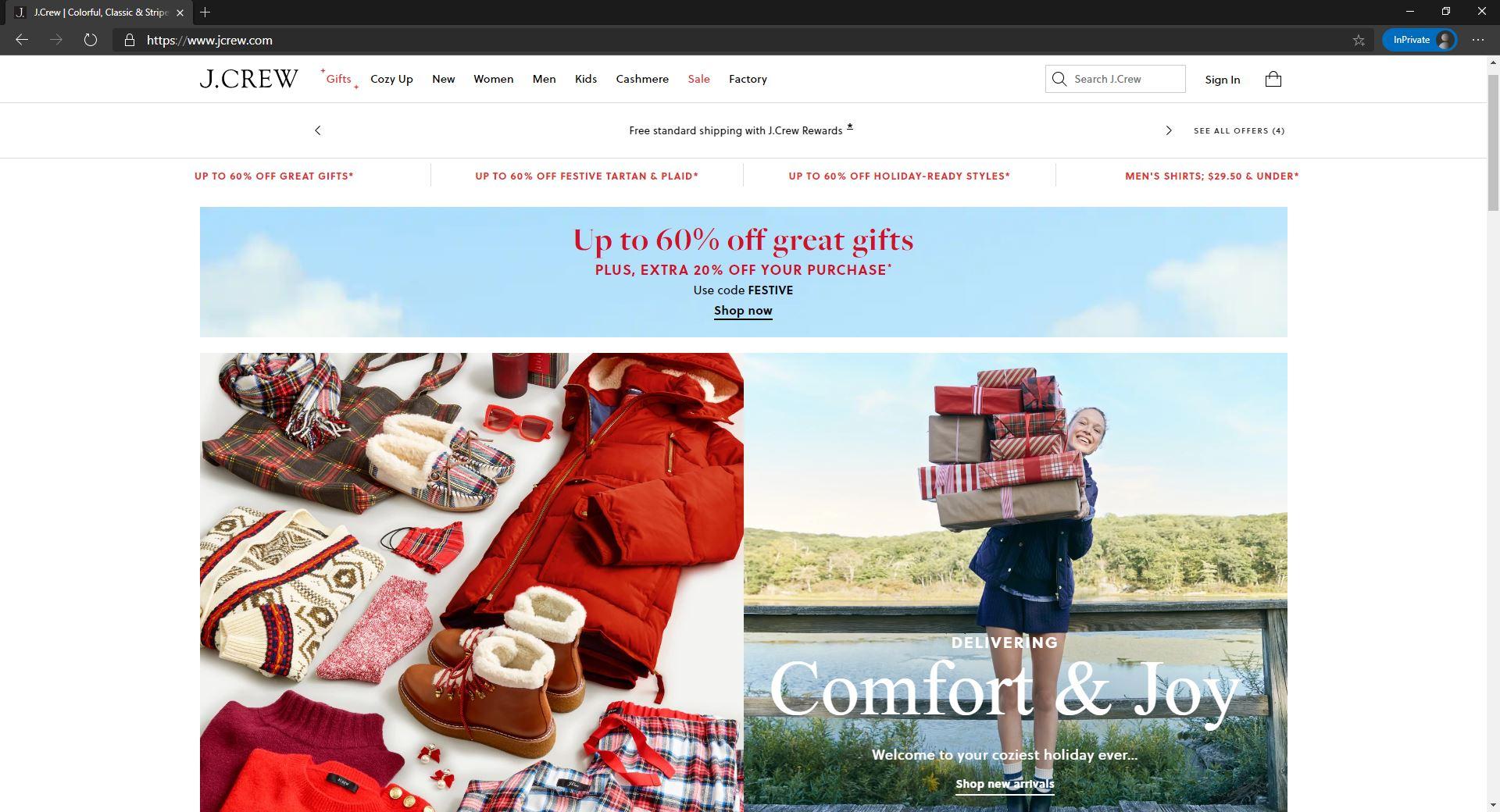 JCrew website hompage