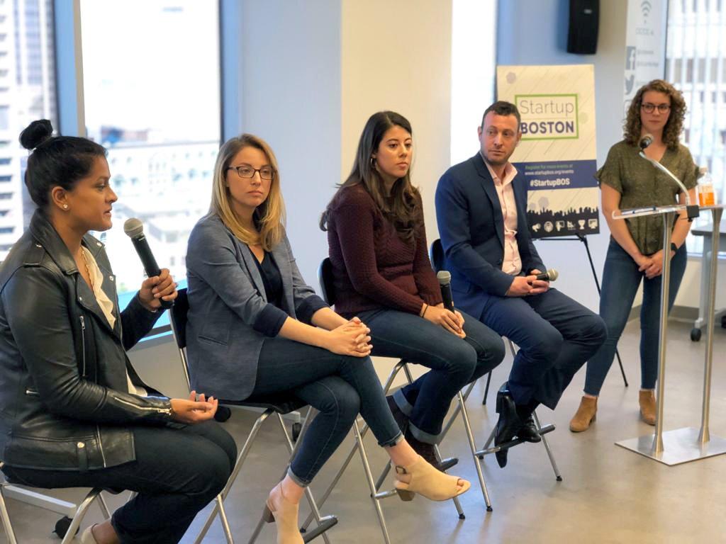 Entrepreneurs a panel talk at Startup Boston