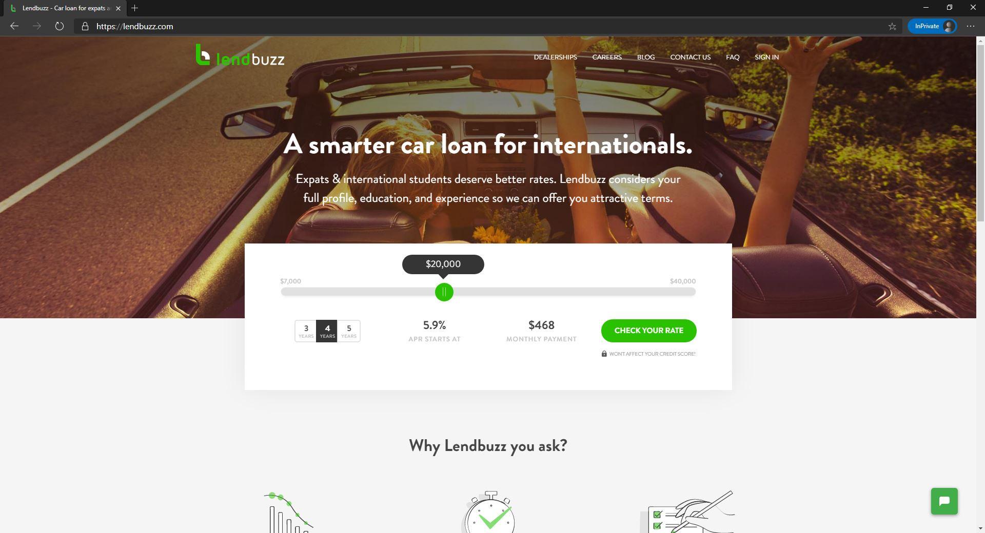 LendBuzz website homepage