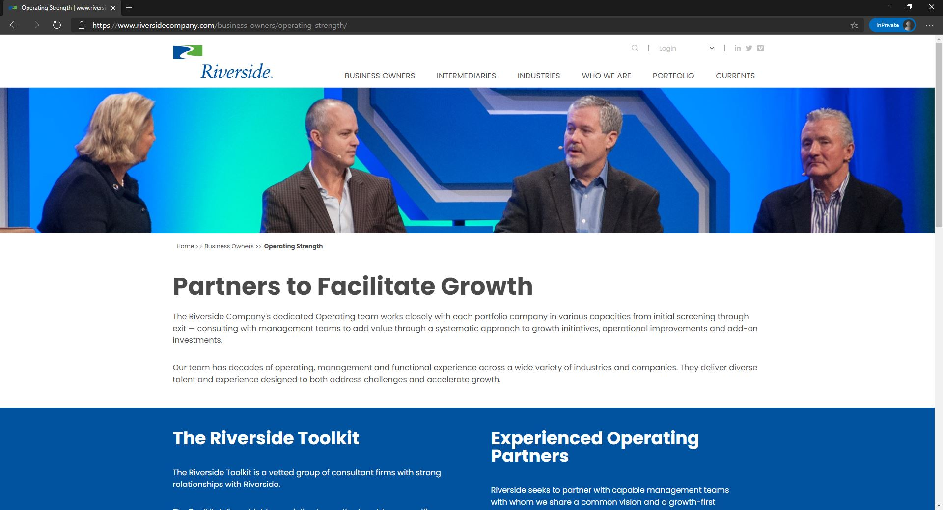 The Riverside Company website homepage
