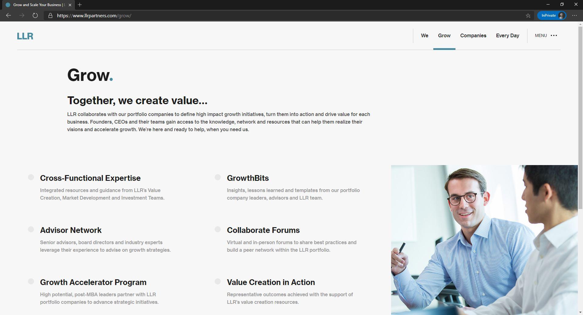 LLR Partners website homepage