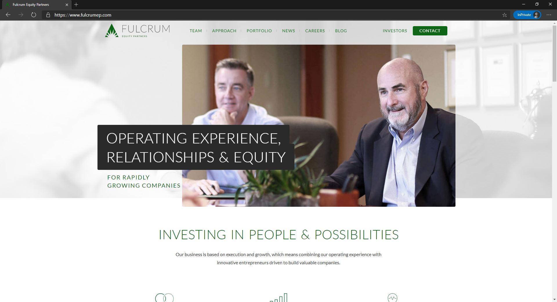 Fulcrum Equity Partners website homepage