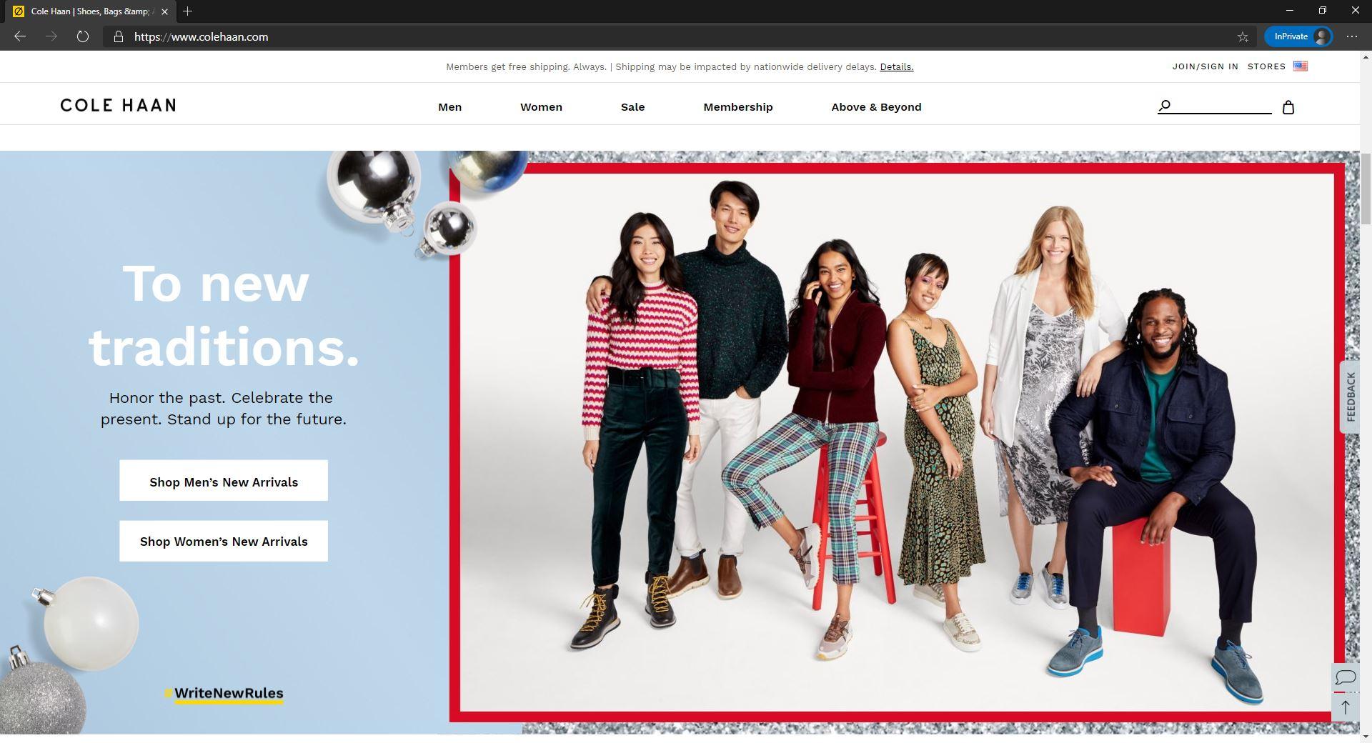 Cole Haan website homepage