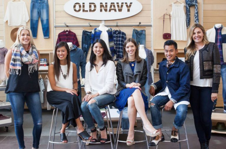 Models in an Old Navy store grand opening