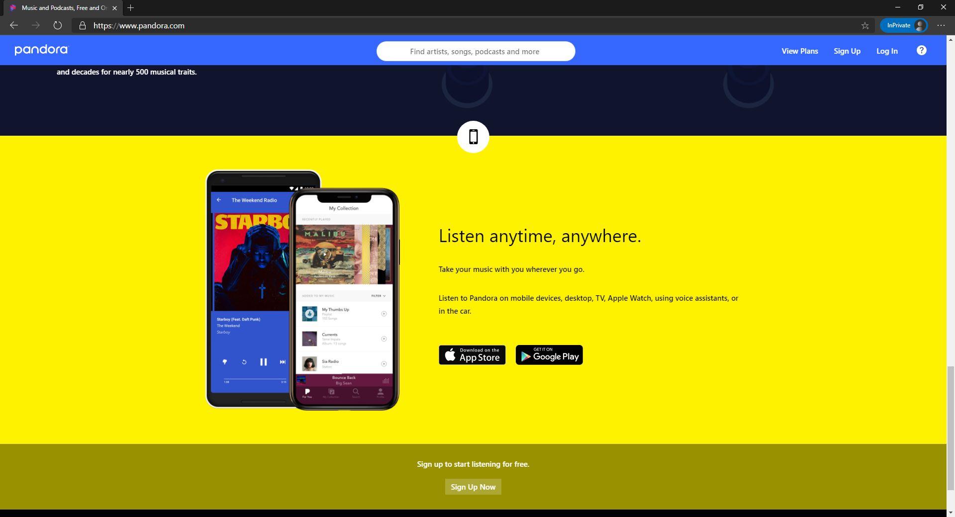 Pandora website homepage