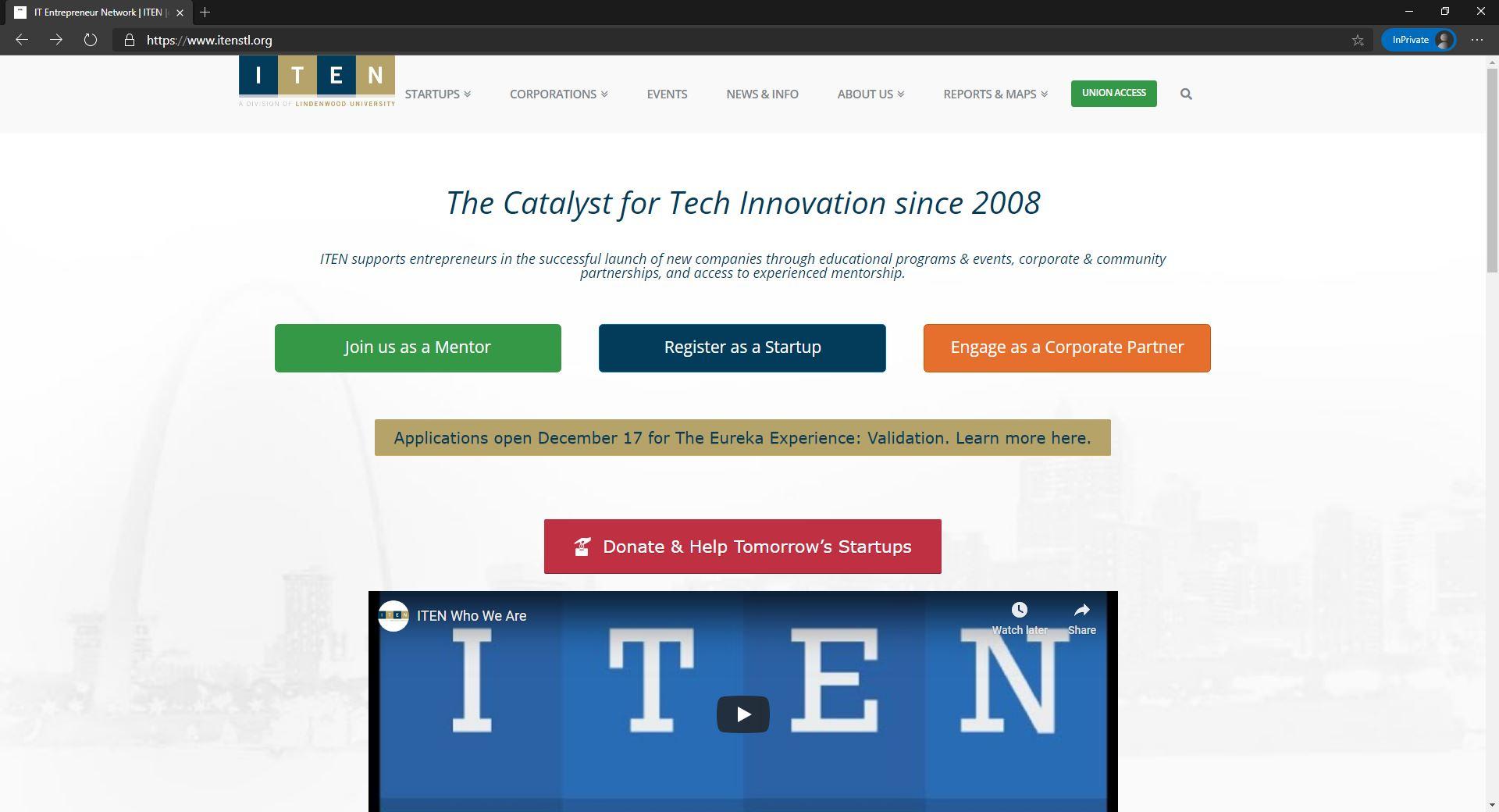 ITEN website homepage