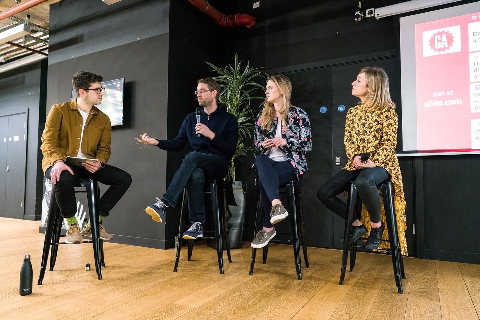 entrepreneurs in a talk at GA Seattle