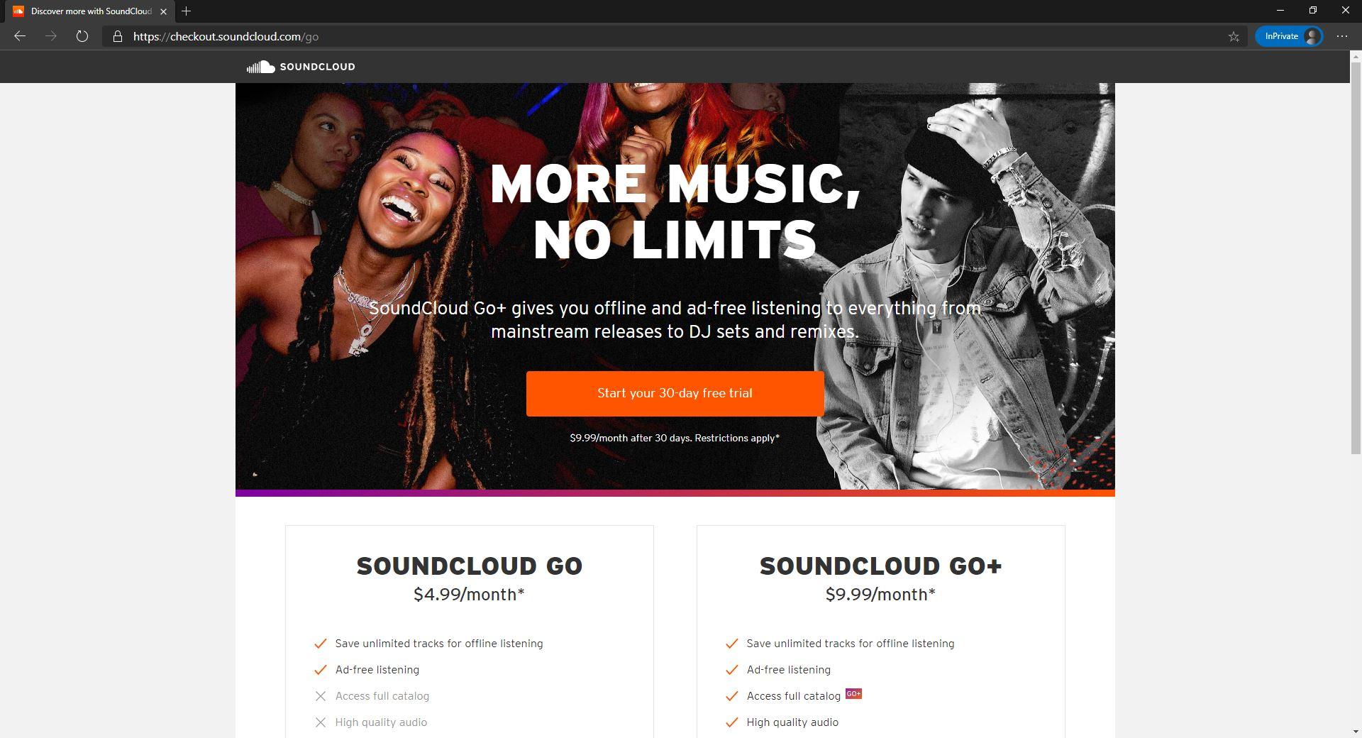 SoundCloud website homepage