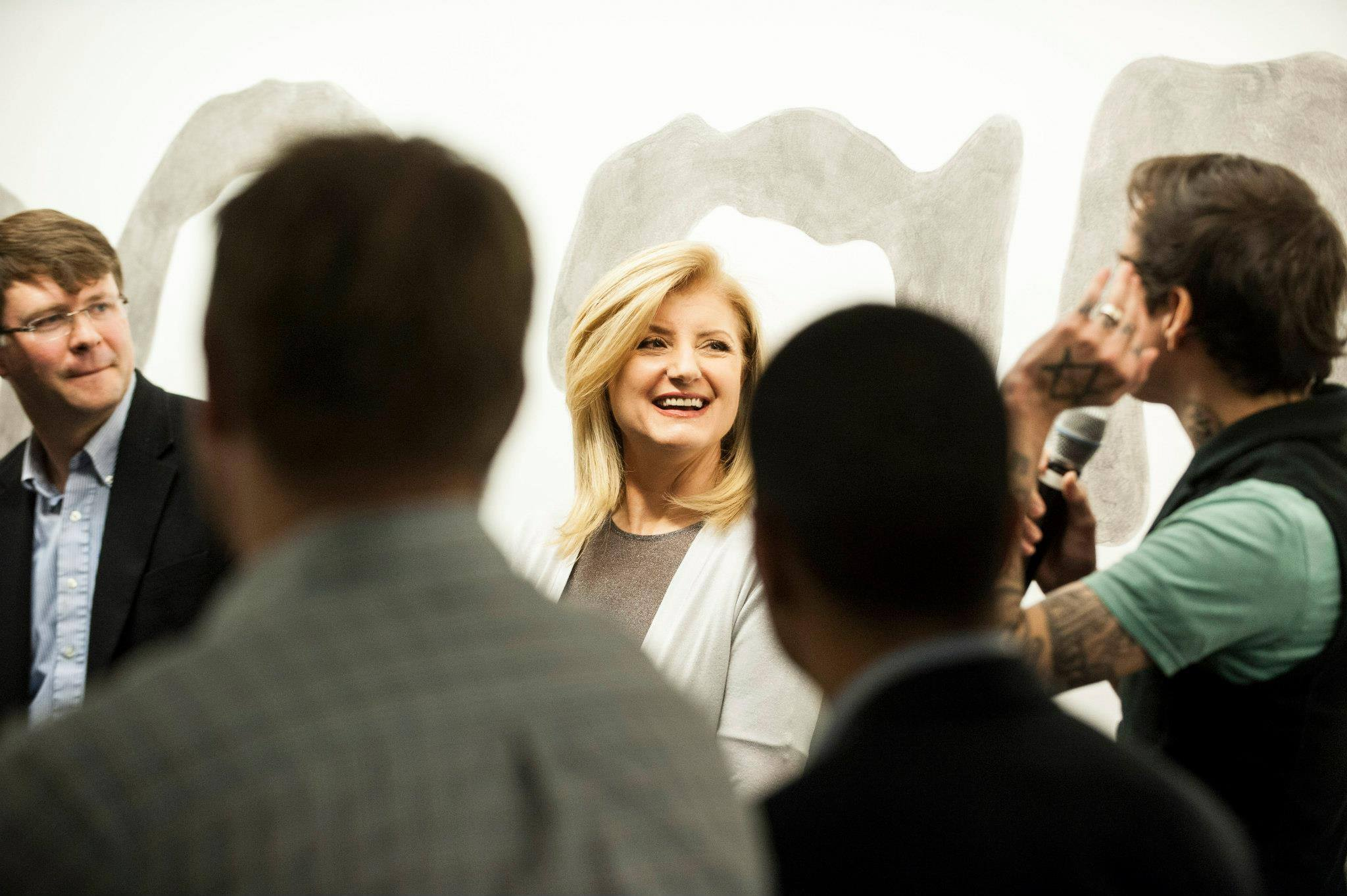 Arianna Huffington at an interview with AOL executive team