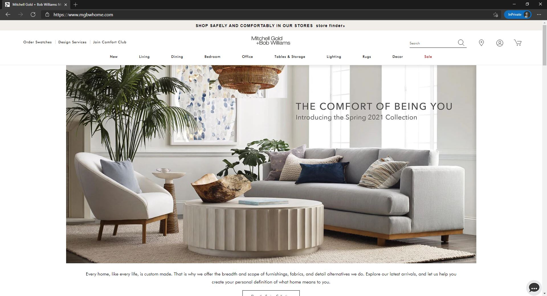 Mitchell Gold + Bob Williams website homepage