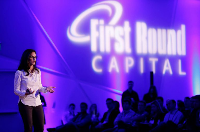 Startup founder pitches at a First Round demo day