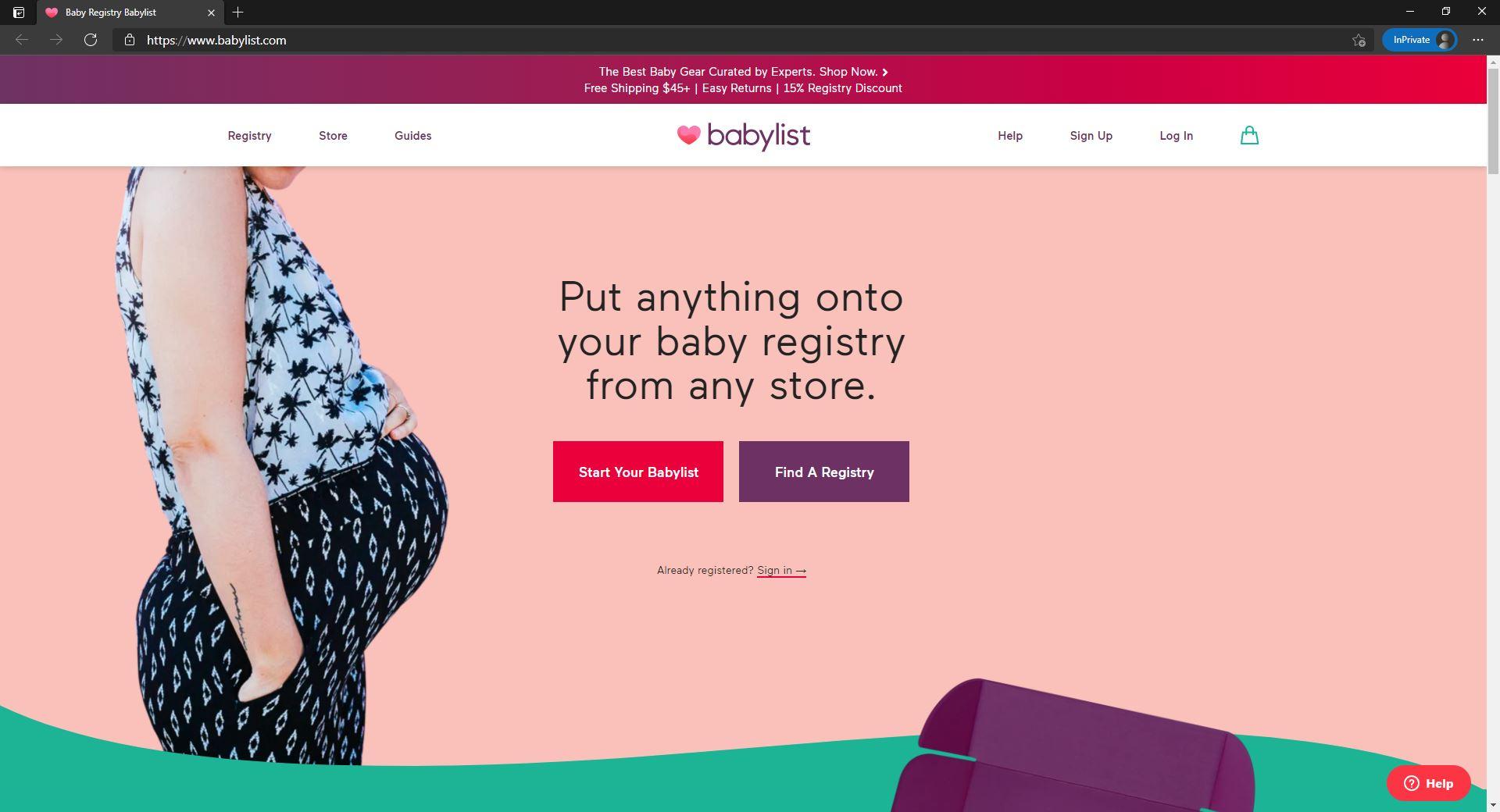 Babylist website homepage