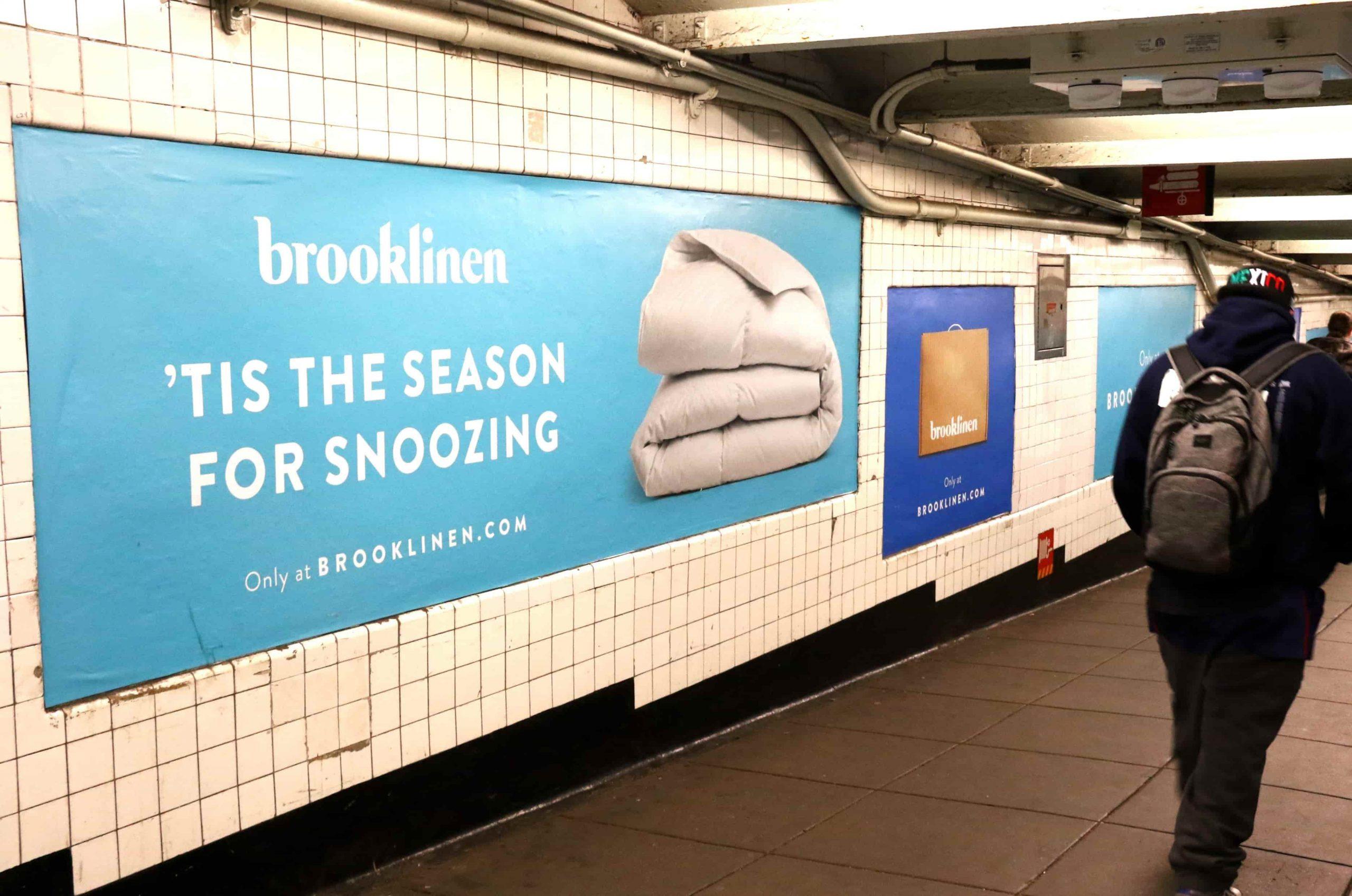 Brooklinen banner in New York subway
